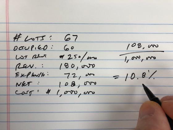 rv park cap rate calculation